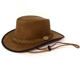 Echt Leder Outdoorhut Cowboyhut Westernhut Braun - Camel Color Splitt (S, Braun) -