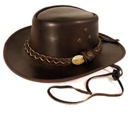 Echt Leder Outdoorhut Cowboyhut Westernhut Braun - Split Leather (M, Braun) -