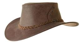 echter Känguru- Lederhut in braun und rost mit geflochtenem Hutband, hergestellt in Australien 2.Wahl -