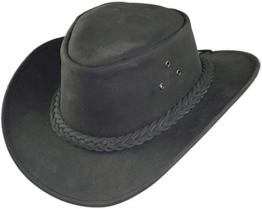 Echter Lederhut aus feinem Nubuckleder in 2 Farben!, Farben:schwarz, Kopfgröße:XL -