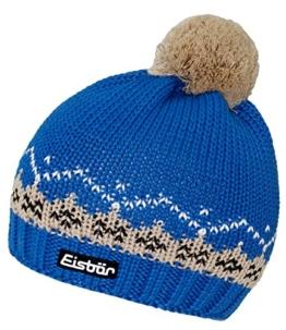 Eisbär Bommelmütze Pudelmütze Sportmütze Damenmütze Wintermütze Strickmütze mit Fleecefutter (EB-80024-W16-DA0-026-OS) in Blau, Größe OS inkl. EveryHead-Hutfibel -