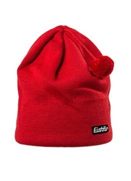 Eisbär Mütze Herren Adam Pompon klein Skimütze Uni mit Logo - Farbauswahl: Farbe: Rot -