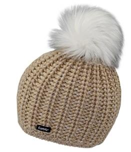 Eisbär Wintermütze Bommelmütze Pudelmütze Damenmütze Mädchenmütze Strickmütze mit Lurexfäden und Kunstfellbommel (EB-30242-W16-DA0-012-OS) in Beige, Größe OS inkl. EveryHead-Hutfibel -