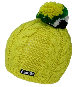 Eisbär Wintermütze Wintersportmütze Strickmütze Bommelmütze Pudelmütze Damenmütze mit Fleecefutter (EB-77020-W16-DA0-050-OS) in Gelb, Größe OS inkl. EveryHead-Hutfibel -