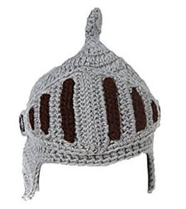 EJY Neuheit römischen Ritter Helm Caps Handgemachte Knit warme Winter-Maske Mützen Kid Partei-Schablone Mützen (kleine für Kinder, grau) -