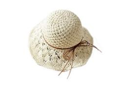ELE GENS Stroh Hut Sonnenhut Sommerhut Strandhut Fischerhut (für Mädchen, Weiß) -