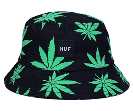 EOZY Unisex Sonnenhut Bucket Hat Fischerhut Cannabis Muster Mütze Dunkelgrün -