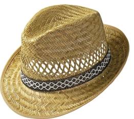 Erntehelfer Strohhut (Sonnenschutz) für Damen und Herren, cooler und modischer Sonnenhut im Trilby Look für den Sommer am Strand oder im Urlaub, verschiedene Größen, Farbe natur, Gr: 61 cm -