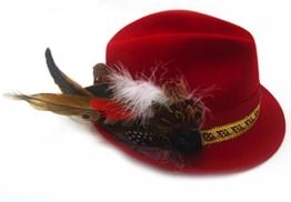 Exklusiver roter Trachtenhut mit Feder und schwarzer Rose Größenverstellbar -