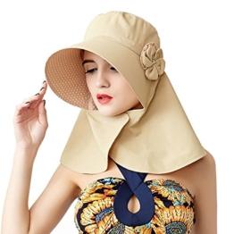 Fashion Frauen Sommer Strand Hüte Damen Professional Sonnenhut großer Rand Anti-UV-Hut Faltbare Sonnenhüte (Beige) -