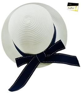 Fiebig Damenkappe Papierkappe Fischermütze Strohkappe Strandkappe Sommerkappe Strohhut Papierhut mit Ripsband für Frauen (FI-69641-S16-DA0-16-57) in marine, Größe 57 inkl. EveryHead-Hutfibel -