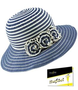 Fiebig Damenstoffhut Stoffhut Sommerhut Sonnenhut Modehut Urlaubshut Strandhut Hut gestreift mit Zierblüten für Frauen (FI-67477-S17-DA0-111-OS) in Jeans, Größe OS inkl. EveryHead-Hutfibel -