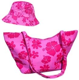 Fiebig Hawai-Set Sonnenhut mit Strandtasche Sommerhut Fischerhut Damenhut (FI-67144-10-57) pink, ca. 57 cm Kopfumfang - inkl. EveryHead-Hutfibel -