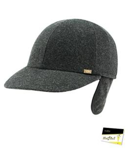 Fiebig Herrenbasecap Basecap Baseballcap Schirmmütze Herbstmütze Cap Teflon wasserabweisend mit Ohrenklappen für Männer (FI-42449-W16-HE1-88-62) in Anthrazit, Größe 62 inkl. EveryHead-Hutfibel -