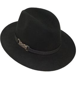 Fiebig Herrenfilzhut Filzhut Panamahut Cowboyhut Wollhut Regenhut Übergangshut Bogart Wollfilz mit Zeirband für Männer (FI-30644-S17-HE1-18-59) in Schwarz, Größe 59 inkl. EveryHead-Hutfibel -