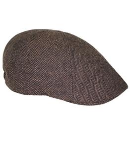 Fiebig Herrenflatcap Flatcap Schiebermütze Schirmmütze Golfermütze Gatsby Wintermütze mit Fischgrätmuster für Männer (FI-42123-W16-HE1-82-M) in Braun, Größe M inkl. EveryHead-Hutfibel -