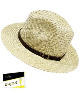 Fiebig Herrenstrohhut Strohhut Sommerhut Sonnenhut Cowboyhut Panamahut große form Urlaubshut Hut mit Ziergürtel für Männer (FI-16534-S17-HE1-111-57) in Natur, Größe 57 inkl. EveryHead-Hutfibel -