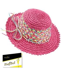 Fiebig Mädchenpapierhut Papierhut Basthut Sommerhut Sonnenhut Hütchen Urlaubshut Strandhut Modehut Hut mit Kordel für Kinder (FI-89302-S17-MA0-10-55) in Pink, Größe 55 inkl. EveryHead-Hutfibel -