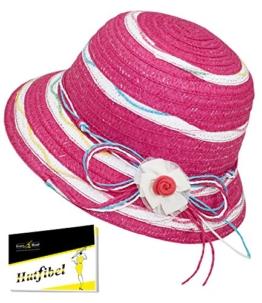 Fiebig Mädchenpapierhut Papierhut Basthut Sommerhut Sonnenhut Hütchen Modehut Urlaubshut Strandhut Hut gestreift für Kinder (FI-89307-S17-MA0-10-55) in Pink, Größe 55 inkl. EveryHead-Hutfibel -