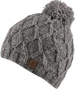 FINJA -Strick Mütze mit Innenfleece Unisex Strickmütze mit trendigen Muster und Bommel-handmade in Nepal-100% Wolle (hellgrau) -