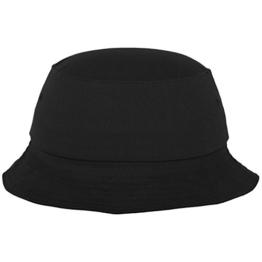 Flexfit Cotton Twill Bucket Hat - Unisex Anglerhut für Damen und Herren, einfarbig, mit patentiertem Flexfit Band, Farbe Schwarz, one size -