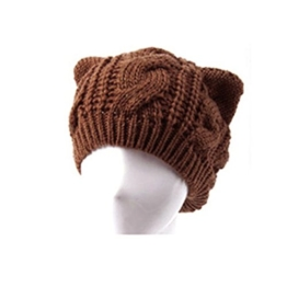 Foxnovo Crochet Geflochtene Wollmütze Katze Ohr Shaped Womens Mädchen Beanie Cap (Kaffee) -