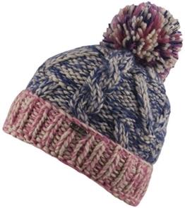 Frieda -Strick Mütze mit Innenfleece Damenmütze Strickmütze mit trendigen Muster und Bommel-handmade (navy/pink) -