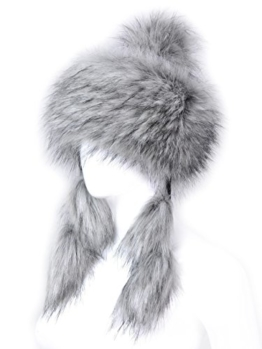 Futrzane Mongolische Fellmütze Strickmütze Mütze Bommel Fell Wintermütze Pelzmütze (Husky Jenot) -