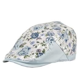 Gatsby Flatcap Schirmmütze Damen Sonnenhut Newsboy (Sequin Hellblau) -