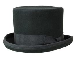Guerra Top Hat Wollfilz Zylinder 14cm Filzhut - schwarz 58 -