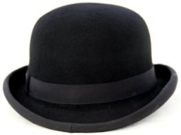 Hart oben traditioneller Bowler-Hut - Größe 62 cm -