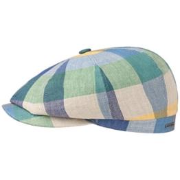 Hatteras Leinen Colour Flatcap Schirmmütze Sommercap Sonnencap Sommermütze Herrencap Cap Kappe Stets Schiebermütze Schirmmütze (57 cm - grün-blau) -