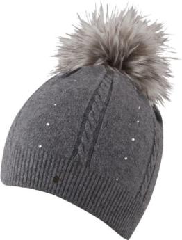 Helen Hat - Glamour Style - Trendige Strick Beanie mit Bommel aus Kunstfell für Damen - 2013/14, Strickmütze , Bommelmütze (grey) -