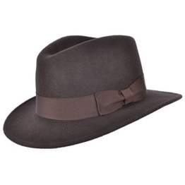 Herren Handgefertigt 100% Wollfilz Indiana Style Knautschfähig Fedora Hut - Braun, Medium - 57cm -