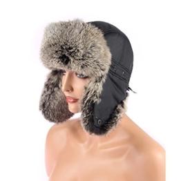 Herren Kaninchen Mütze Fellmütze Pelzmütze Wintermütze Fliegermütze Uschanka Polarmütze -