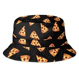 Hip-Hop Bucket-Bush Sommer- und Party-Hut mit spritzigem Design für Damen und Herren Gr. Einheitsgröße, Pizza Black -