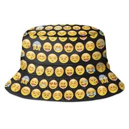 Hip-Hop Bucket-Bush Sommer- und Party-Hut mit spritzigem Design für Damen und Herren Gr. Einheitsgröße, Emoji Black -