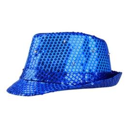 HITOP LED Glitzer Pailletten Disco Partyhut Silber/Schwarz Stufe Glanz Party Karneval Fasching Jazz Hüte(Blau) -
