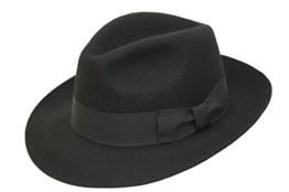Hochwertige Handarbeit Herren Fedora Trilby-Hut, Filz, mit breiter Krempe, 100% Wolle -