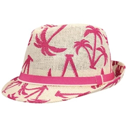 Honolulu Trilby Strohhut Strandhut Sommerhut Gartenhut Urlaubshut Hut Sonnenhut Strohtrilby Fedora Sommerhut Sonnenhut (S/55-56 - pink) -
