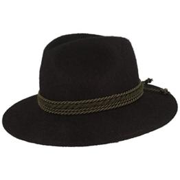 Hut-Breiter Damen und Herren Filzhut Isartaler Trachtenhut aus Haarfilz schwarz - 56 -