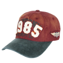 ililily 1985 Patch Embroidery Baseball Cap Vintage Trucker Hat Washed Snap Back (ballcap-676-3) -
