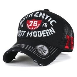 ililily authentisch MOST Moderne klassischer Stil abgenutztes Aussehen Netz Trucker Cap Hut Baseball Cap , All Black -