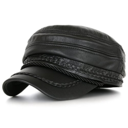 ililily Black Genuine Leather Braided Detail Military Flex Fit Flat Top Cap(cadet-601-1-M) -