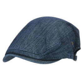 ililily Denim Cotton Newsboy Flat Cap with Strap Details on Both Sides Ivy Driver Hunting Hut (flatcap-528-1) -