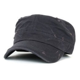 ililily Distressed Cotton Cadet Cap with Adjustable Strap Army Style Hut (cadet_527_2) -