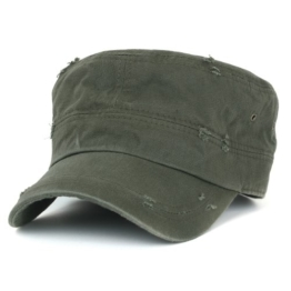 ililily Distressed Cotton Cadet Cap with Adjustable Strap Army Style Hut (cadet_527_3) -