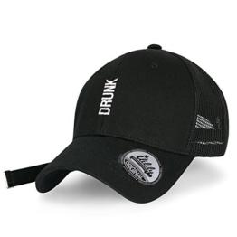 ililily DRUNK abgebildet im Logo Stickerei Solid Baumwolle lang Schlaufe Netz Baseball Cap , Black -