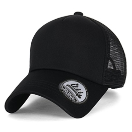 ililily einfarbig Baseball Cap einfach Netz Snapback Farbe Trucker Cap Hut , All Black -