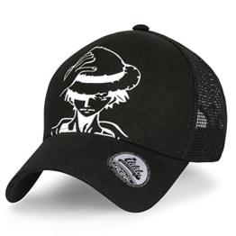 ililily eins Stück Persönlichkeit Luffy als Druckmotiv Baumwolle Freizeitkleidung Netz Baseball Cap Dad Hut , Black -
